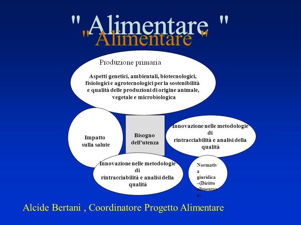 Alcide Bertani, Coordinatore Progetto Alimentare Aspetti genetici, ambientali, biotecnologici, fisiologici e agrotecnologici per la sostenibilità e qu