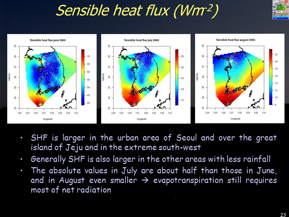 23 Sensible heat flux (Wm -2 ) SHF is larger in the urban area of Seoul and over the great island of Jeju and in the extreme south-west Generally SHF is also larger in the other areas with less rainfall The absolute values in July are about half than those in June, and in August even smaller evapotranspiration still requires most of net radiation