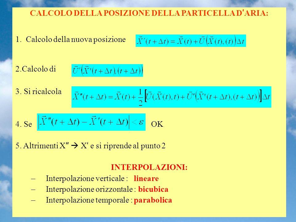 CALCOLO DELLA POSIZIONE DELLA PARTICELLA D ARIA: 1.