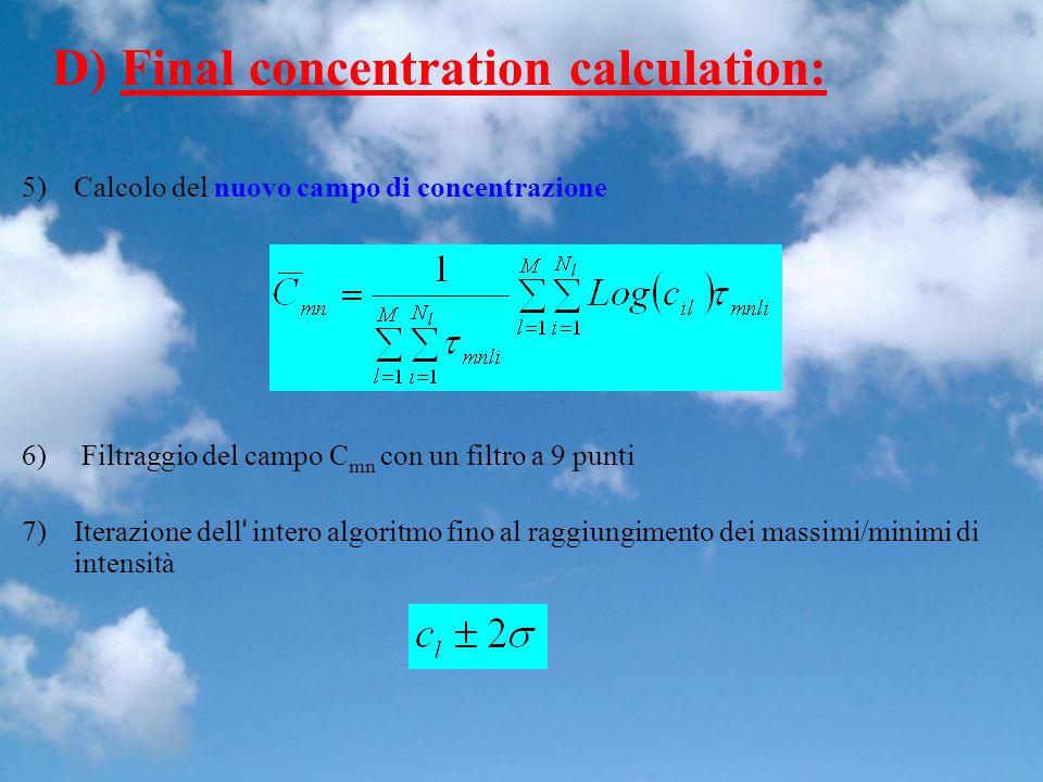 D) Final concentration calculation: 5)Calcolo del nuovo campo di concentrazione 6) Filtraggio del campo C mn con un filtro a 9 punti 7)Iterazione dell intero algoritmo fino al raggiungimento dei massimi/minimi di intensità