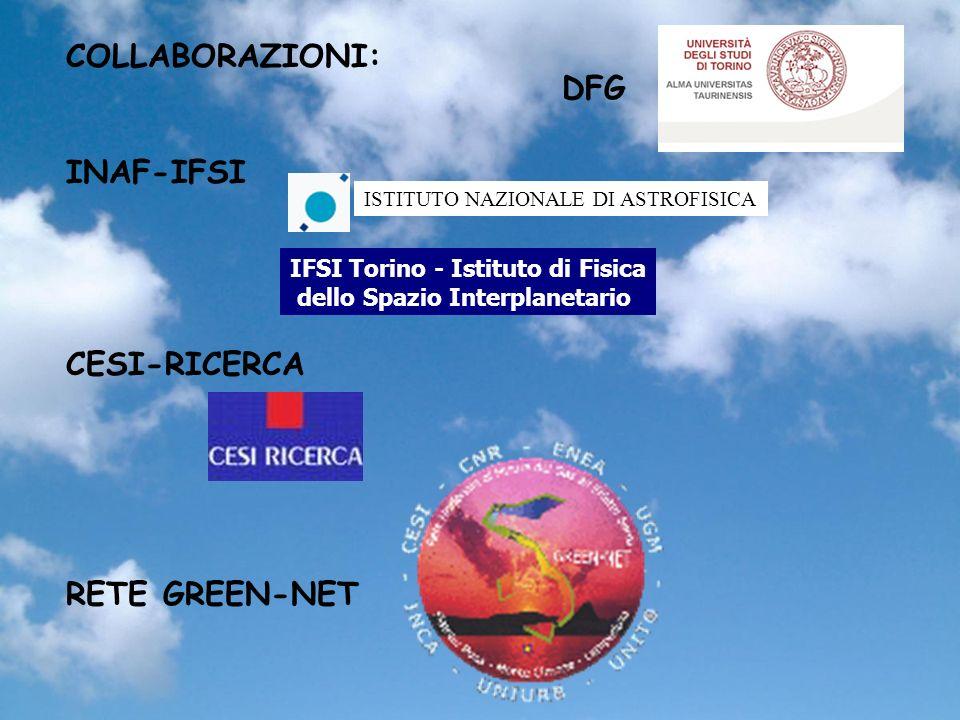 COLLABORAZIONI: INAF-IFSI CESI-RICERCA RETE GREEN-NET ISTITUTO NAZIONALE DI ASTROFISICA IFSI Torino - Istituto di Fisica dello Spazio Interplanetario DFG