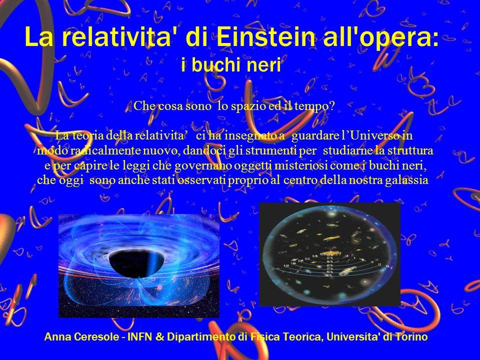La relativita di Einstein all opera: i buchi neri Anna Ceresole - INFN & Dipartimento di Fisica Teorica, Universita di Torino Che cosa sono lo spazio ed il tempo.