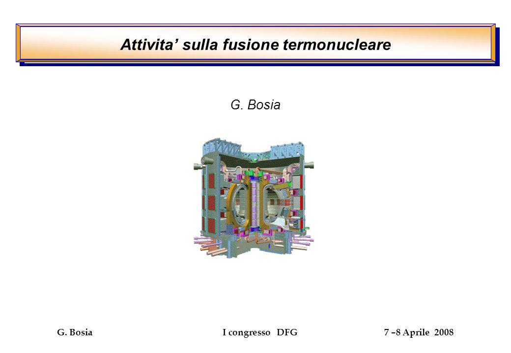 G. Bosia I congresso DFG 7 –8 Aprile 2008 G. Bosia Attivita sulla fusione termonucleare