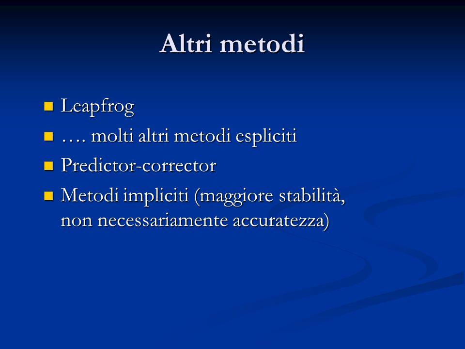 Altri metodi Leapfrog Leapfrog …. molti altri metodi espliciti …. molti altri metodi espliciti Predictor-corrector Predictor-corrector Metodi implicit