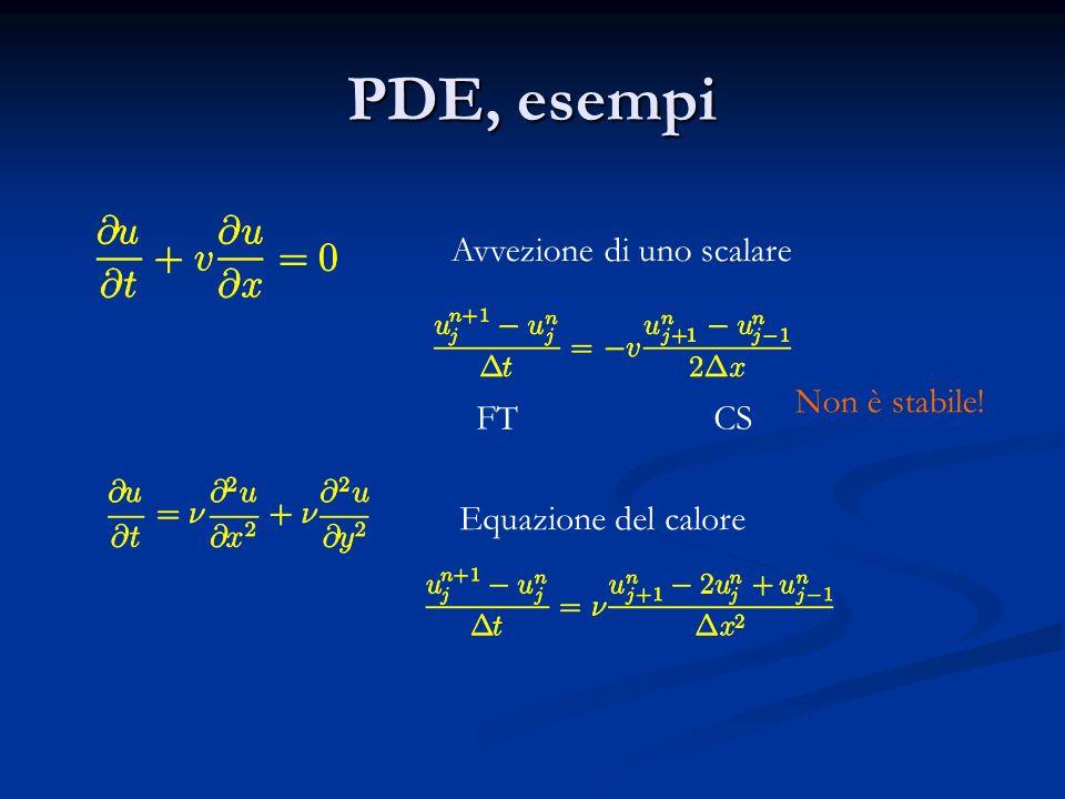 PDE, esempi Avvezione di uno scalare Equazione del calore FT CS Non è stabile!