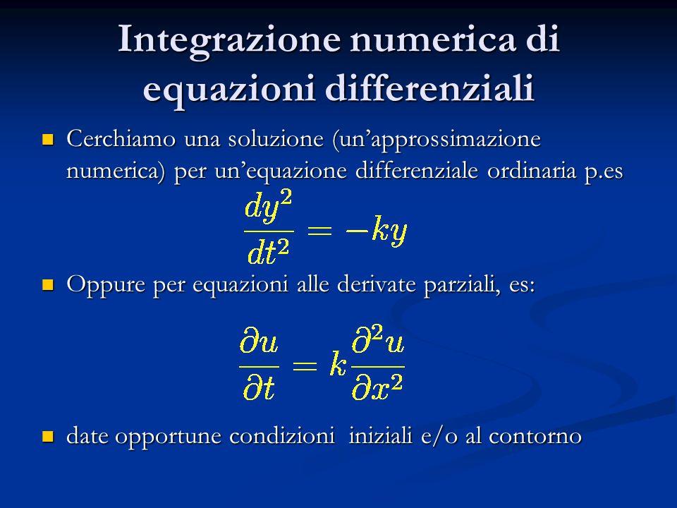 Integrazione numerica di equazioni differenziali Cerchiamo una soluzione (unapprossimazione numerica) per unequazione differenziale ordinaria p.es Cer