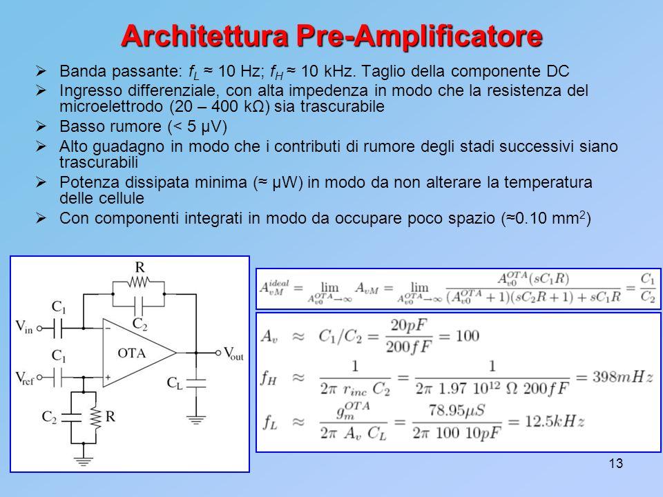 13 Architettura Pre-Amplificatore Banda passante: f L 10 Hz; f H 10 kHz. Taglio della componente DC Ingresso differenziale, con alta impedenza in modo