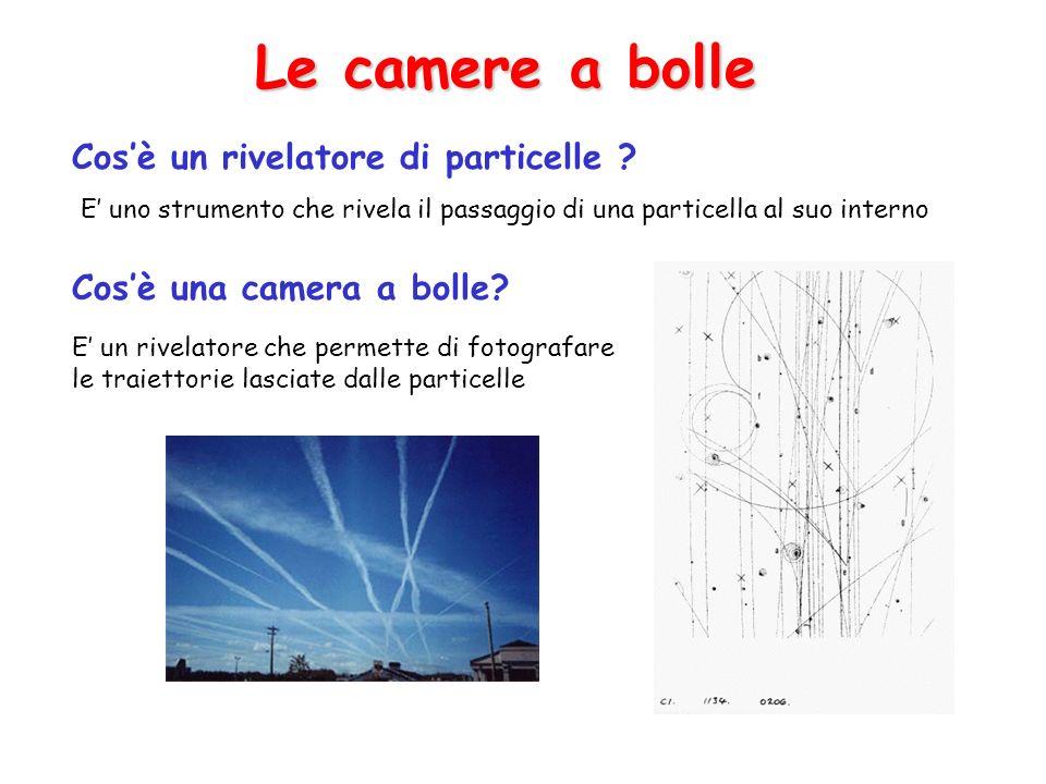 Cosè un rivelatore di particelle ? Cosè una camera a bolle? Le camere a bolle E uno strumento che rivela il passaggio di una particella al suo interno