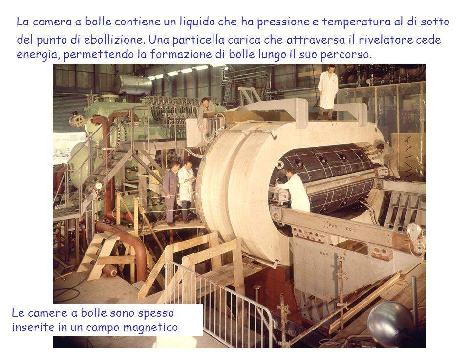 La camera a bolle contiene un liquido che ha pressione e temperatura al di sotto del punto di ebollizione. Una particella carica che attraversa il riv