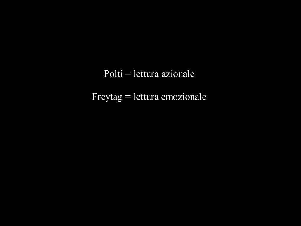 Polti = lettura azionale Freytag = lettura emozionale