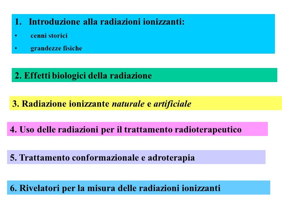 1.Introduzione alla radiazioni ionizzanti: cenni storici grandezze fisiche 2. Effetti biologici della radiazione 3. Radiazione ionizzante naturale e a