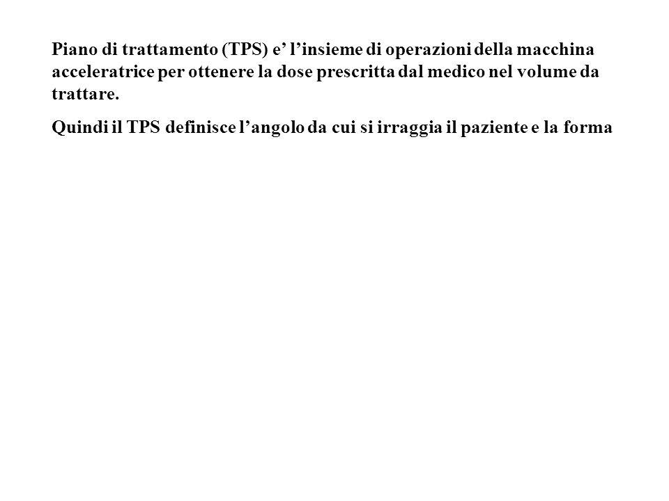 Piano di trattamento (TPS) e linsieme di operazioni della macchina acceleratrice per ottenere la dose prescritta dal medico nel volume da trattare. Qu