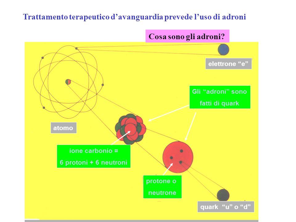 Gli adroni sono fatti di quark ione carbonio = 6 protoni + 6 neutroni atomo protone o neutrone quark u o d elettrone e Cosa sono gli adroni? Trattamen