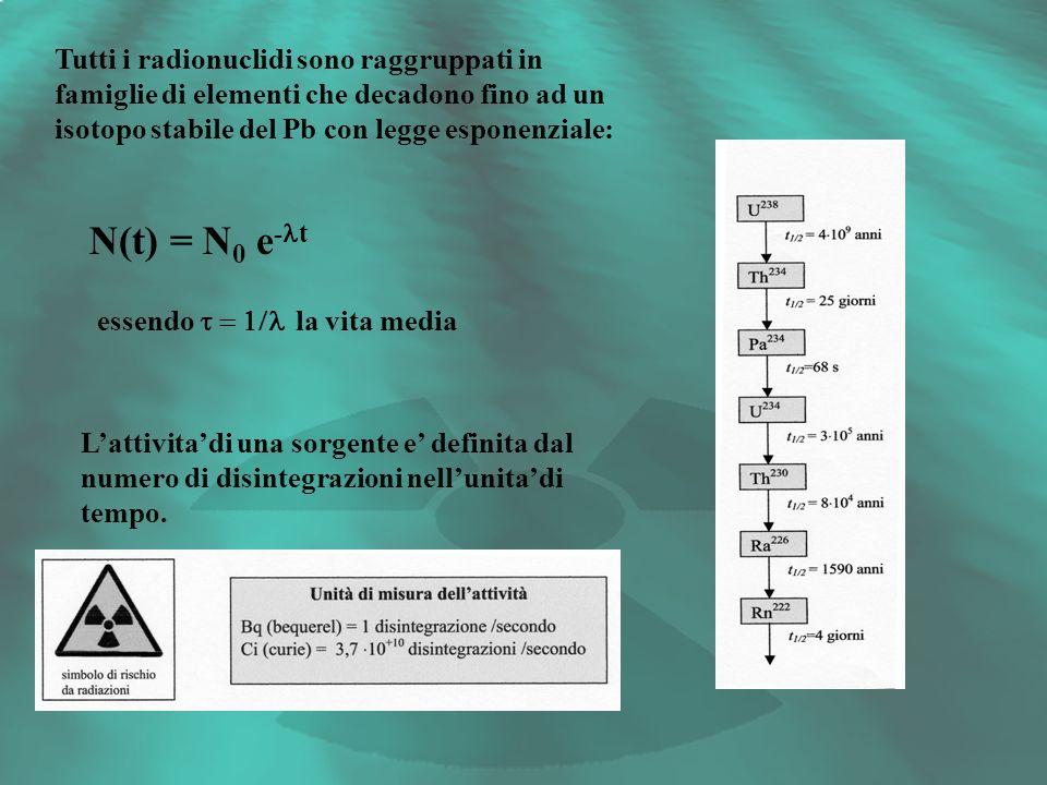 Tutti i radionuclidi sono raggruppati in famiglie di elementi che decadono fino ad un isotopo stabile del Pb con legge esponenziale: N(t) = N 0 e - t