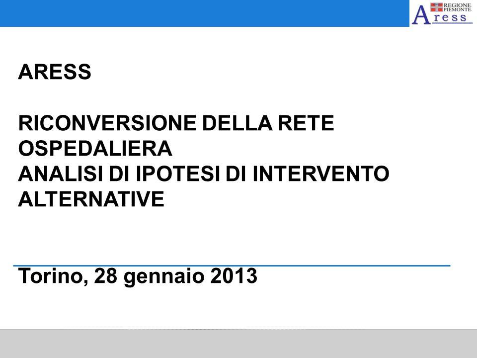 ARESS RICONVERSIONE DELLA RETE OSPEDALIERA ANALISI DI IPOTESI DI INTERVENTO ALTERNATIVE Torino, 28 gennaio 2013