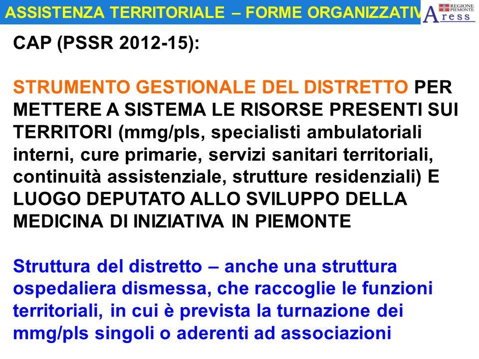 CAP (PSSR 2012-15): STRUMENTO GESTIONALE DEL DISTRETTO PER METTERE A SISTEMA LE RISORSE PRESENTI SUI TERRITORI (mmg/pls, specialisti ambulatoriali int