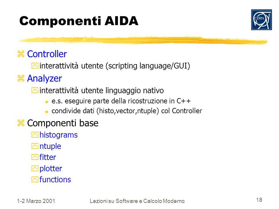 1-2 Marzo 2001Lezioni su Software e Calcolo Moderno 18 Componenti AIDA zController yinterattività utente (scripting language/GUI) zAnalyzer yinterattività utente linguaggio nativo u e.s.