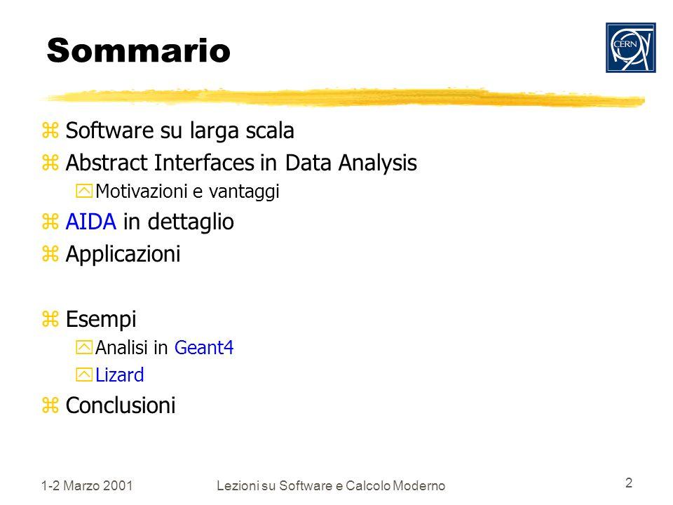 1-2 Marzo 2001Lezioni su Software e Calcolo Moderno 2 Sommario zSoftware su larga scala zAbstract Interfaces in Data Analysis yMotivazioni e vantaggi zAIDA in dettaglio zApplicazioni zEsempi yAnalisi in Geant4 yLizard zConclusioni