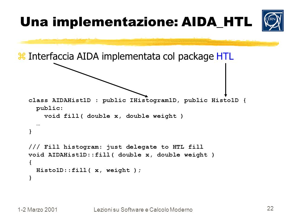 1-2 Marzo 2001Lezioni su Software e Calcolo Moderno 22 Una implementazione: AIDA_HTL Interfaccia AIDA implementata col package HTL class AIDAHist1D : public IHistogram1D, public Histo1D { public: void fill( double x, double weight ) … } /// Fill histogram: just delegate to HTL fill void AIDAHist1D::fill( double x, double weight ) { Histo1D::fill( x, weight ); }