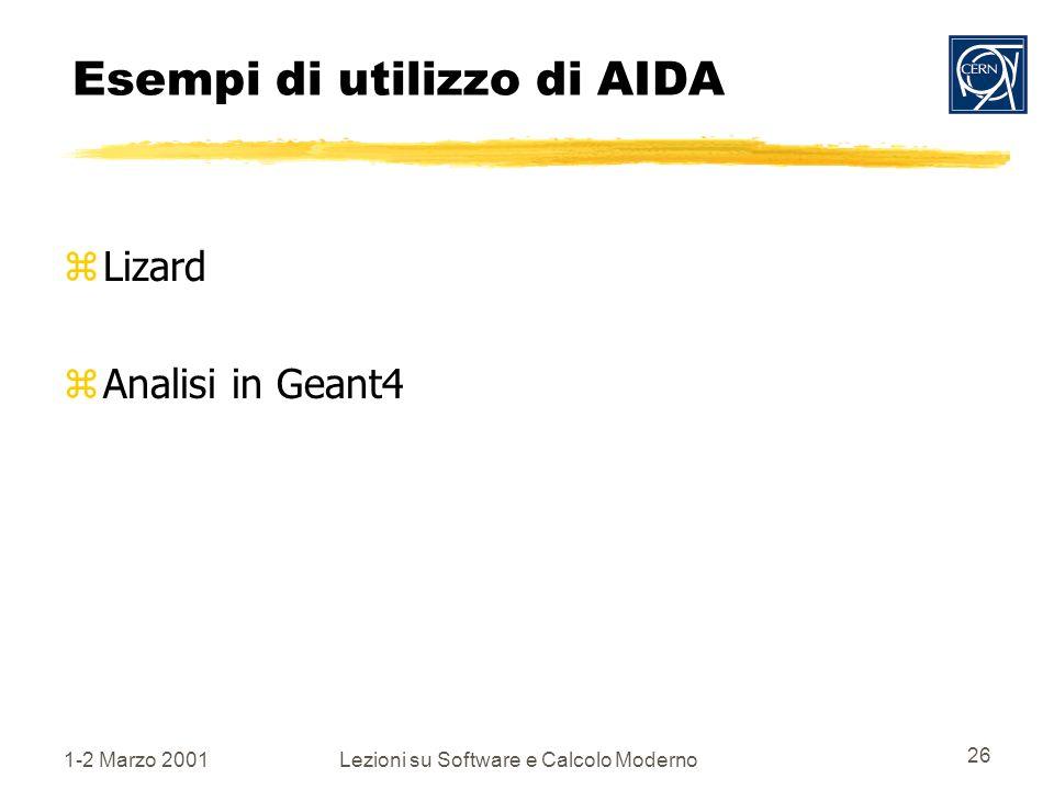 1-2 Marzo 2001Lezioni su Software e Calcolo Moderno 26 Esempi di utilizzo di AIDA zLizard zAnalisi in Geant4