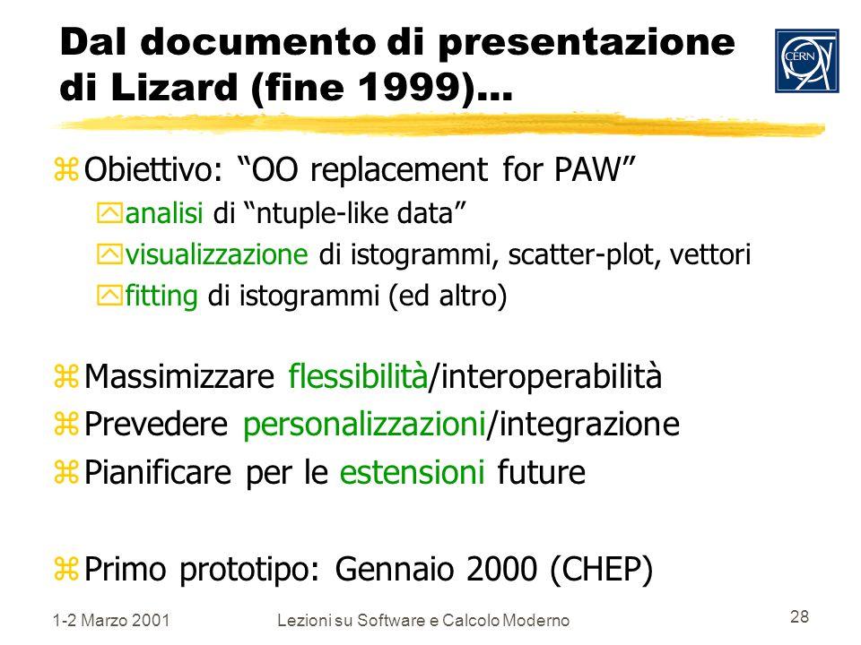1-2 Marzo 2001Lezioni su Software e Calcolo Moderno 28 Dal documento di presentazione di Lizard (fine 1999)...