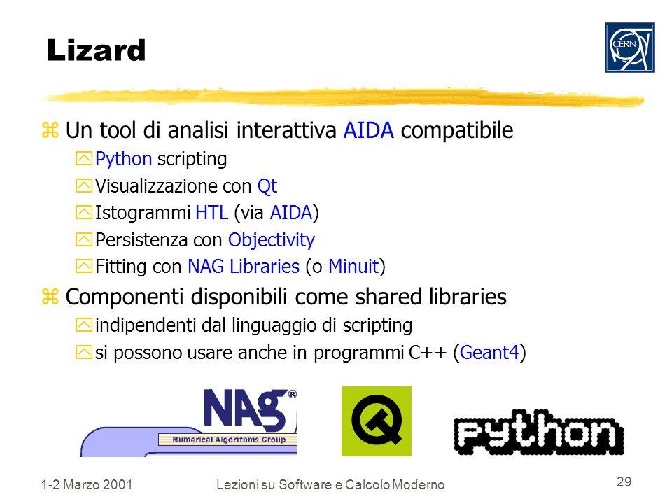 1-2 Marzo 2001Lezioni su Software e Calcolo Moderno 29 Lizard zUn tool di analisi interattiva AIDA compatibile yPython scripting yVisualizzazione con Qt yIstogrammi HTL (via AIDA) yPersistenza con Objectivity yFitting con NAG Libraries (o Minuit) zComponenti disponibili come shared libraries yindipendenti dal linguaggio di scripting ysi possono usare anche in programmi C++ (Geant4)