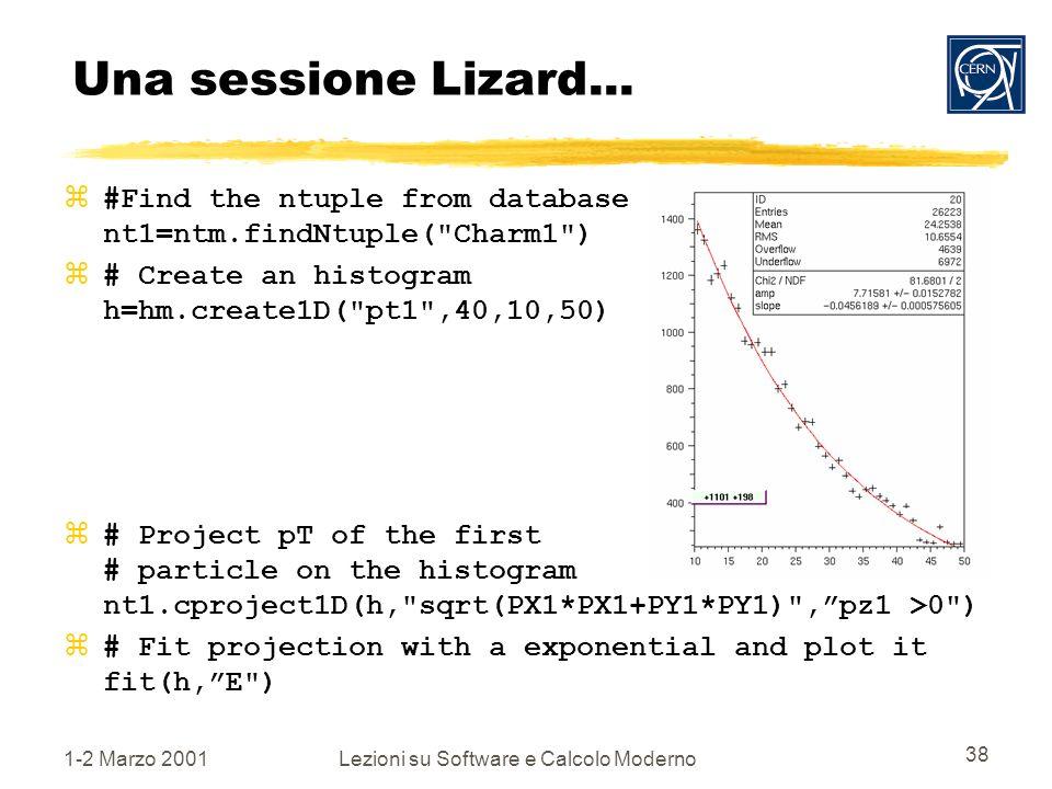1-2 Marzo 2001Lezioni su Software e Calcolo Moderno 38 Una sessione Lizard...