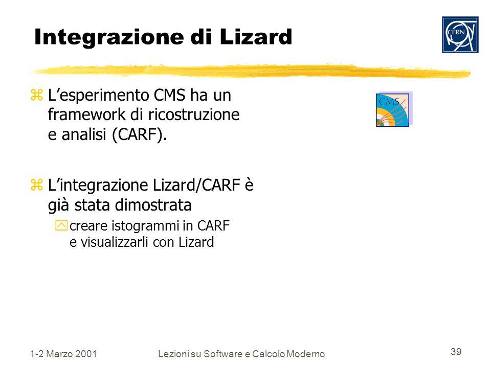 1-2 Marzo 2001Lezioni su Software e Calcolo Moderno 39 Integrazione di Lizard zLesperimento CMS ha un framework di ricostruzione e analisi (CARF).