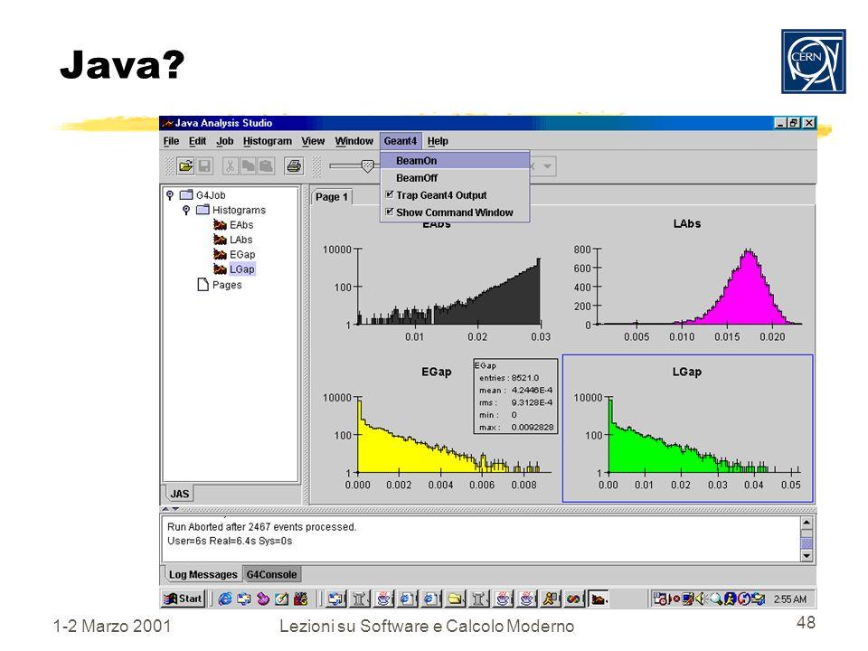 1-2 Marzo 2001Lezioni su Software e Calcolo Moderno 48 Java