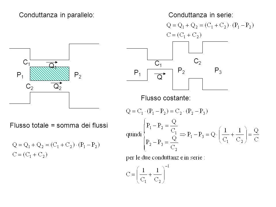 Conduttanza in parallelo: C1C1 C2C2 P1P1 P2P2 Q1Q1 Q2Q2 Conduttanza in serie: C1C1 C2C2 P1P1 P2P2 Q P3P3 Flusso totale = somma dei flussi Flusso costa