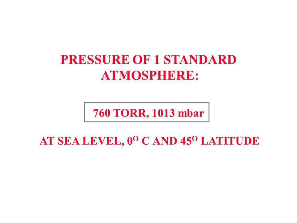 PRESSURE OF 1 STANDARD ATMOSPHERE: 760 TORR, 1013 mbar AT SEA LEVEL, 0 O C AND 45 O LATITUDE