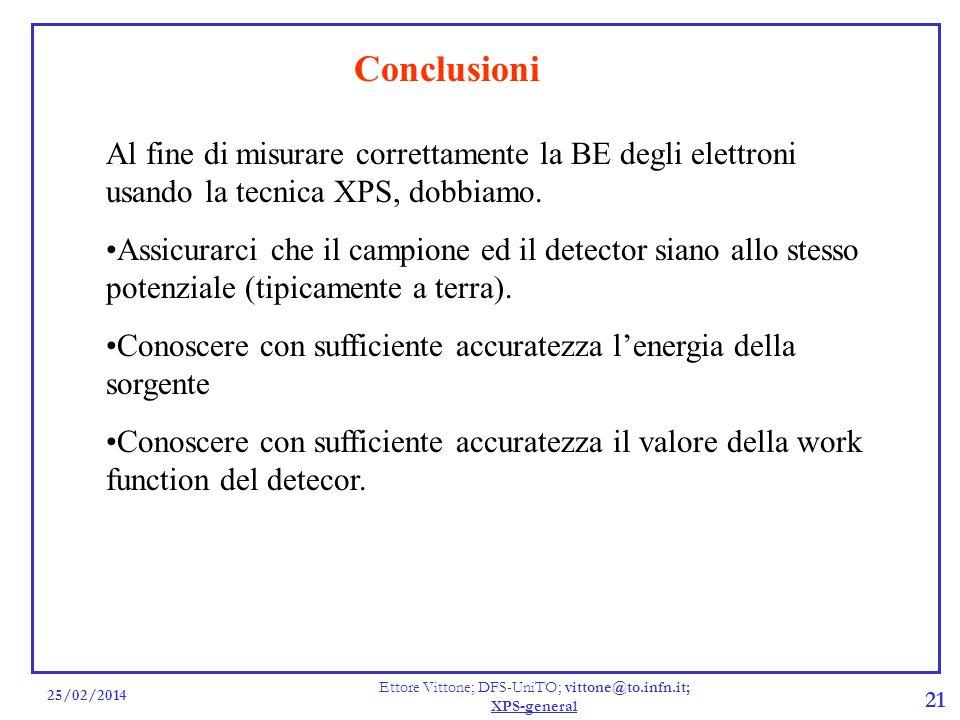 25/02/2014 Ettore Vittone; DFS-UniTO; vittone@to.infn.it; XPS-general 21 Conclusioni Al fine di misurare correttamente la BE degli elettroni usando la