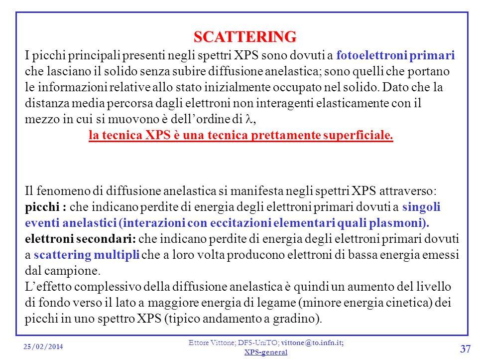25/02/2014 Ettore Vittone; DFS-UniTO; vittone@to.infn.it; XPS-general 37 SCATTERING Il fenomeno di diffusione anelastica si manifesta negli spettri XP