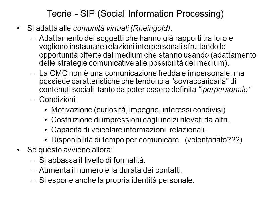 Teorie - SIP (Social Information Processing) Si adatta alle comunità virtuali (Rheingold).