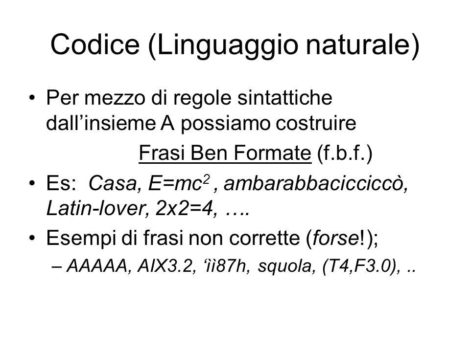 Codice (Linguaggio naturale) Per mezzo di regole sintattiche dallinsieme A possiamo costruire Frasi Ben Formate (f.b.f.) Es: Casa, E=mc 2, ambarabbaci