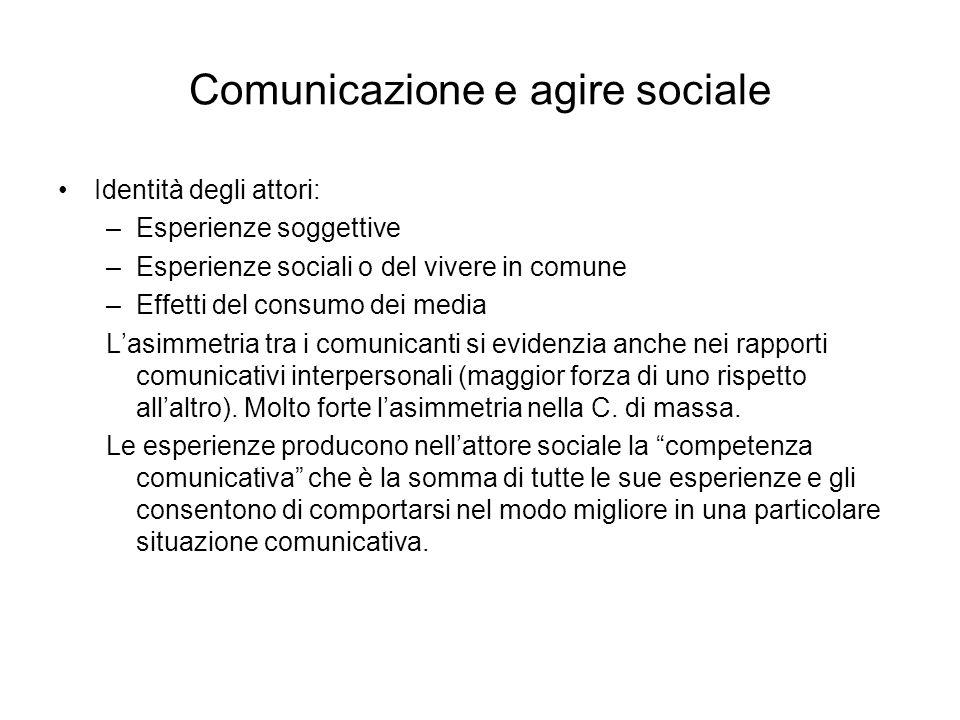 Comunicazione e agire sociale Identità degli attori: –Esperienze soggettive –Esperienze sociali o del vivere in comune –Effetti del consumo dei media