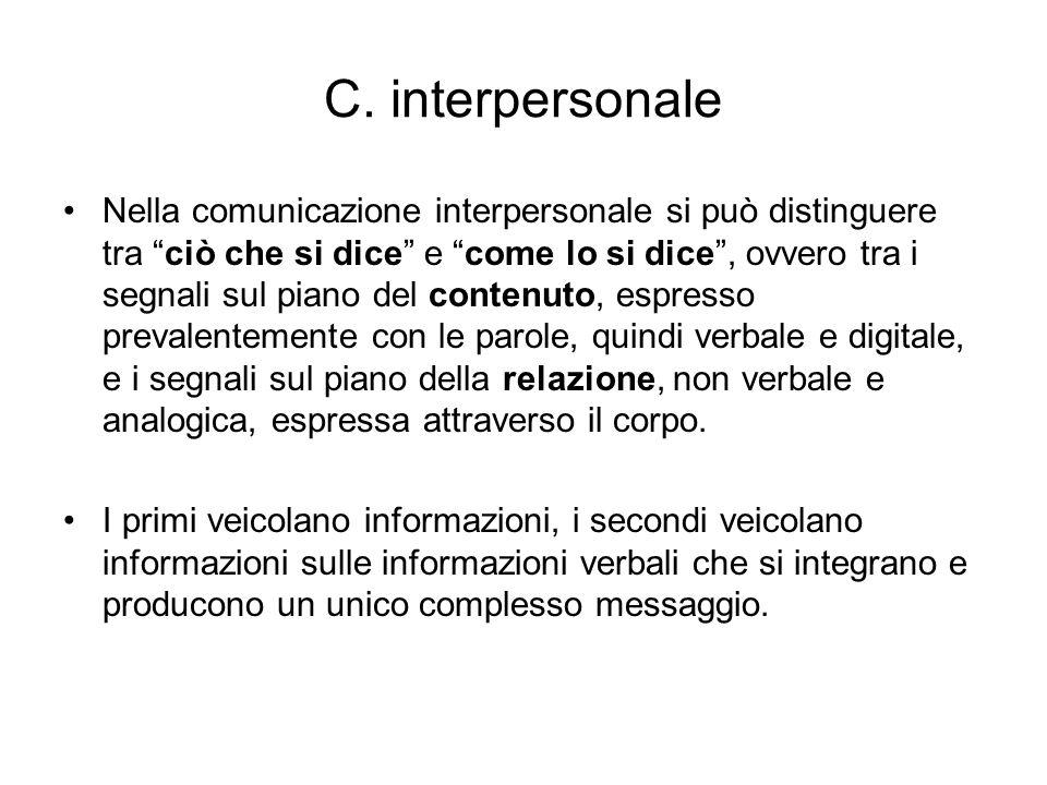 C. interpersonale Nella comunicazione interpersonale si può distinguere tra ciò che si dice e come lo si dice, ovvero tra i segnali sul piano del cont
