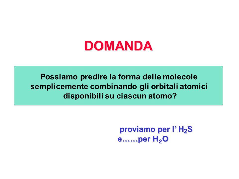 DOMANDA proviamo per l H 2 S proviamo per l H 2 S e……per H 2 O Possiamo predire la forma delle molecole semplicemente combinando gli orbitali atomici