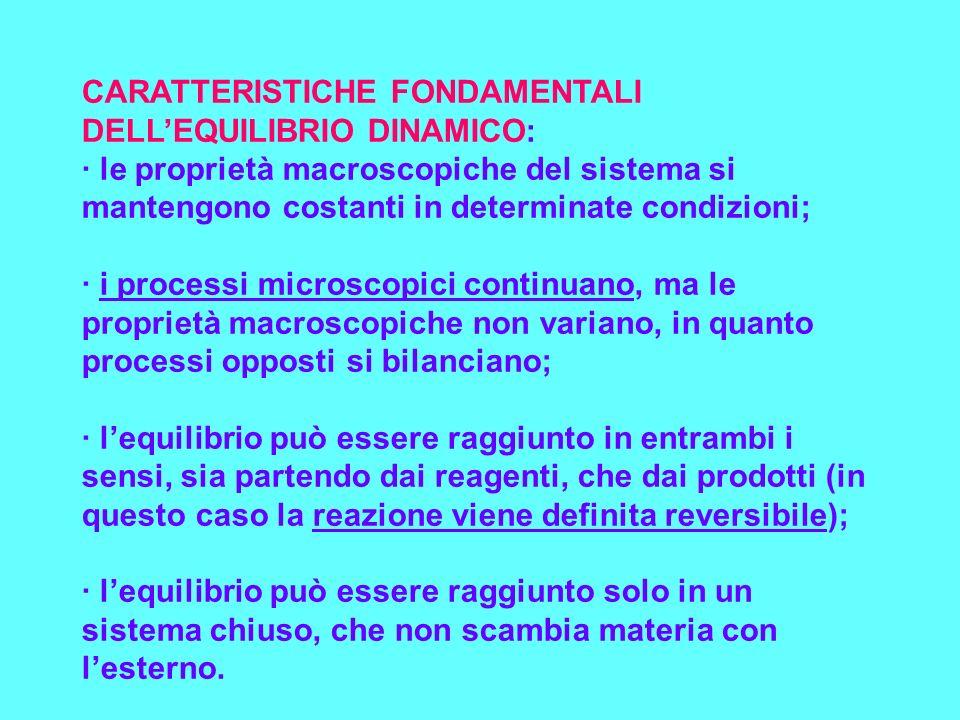 CARATTERISTICHE FONDAMENTALI DELLEQUILIBRIO DINAMICO: · le proprietà macroscopiche del sistema si mantengono costanti in determinate condizioni; · i p