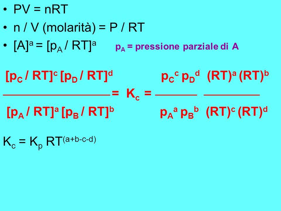 PV = nRT n / V (molarità) = P / RT [A] a = [p A / RT] a p A = pressione parziale di A [p C / RT] c [p D / RT] d p C c p D d (RT) a (RT) b ____________