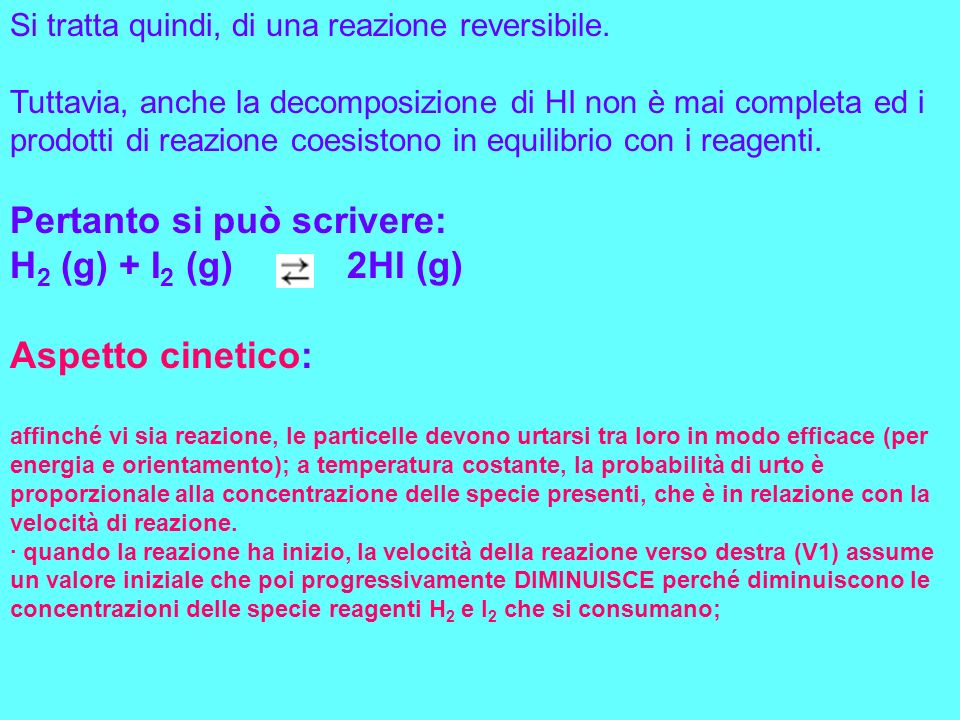 · daltra parte, a mano a mano che si forma il prodotto HI, AUMENTA la velocità della reazione verso sinistra (V2), che inizialmente è nulla.