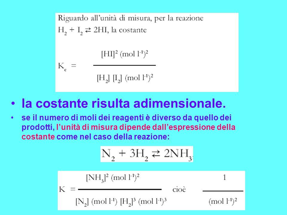 la costante risulta adimensionale. se il numero di moli dei reagenti è diverso da quello dei prodotti, lunità di misura dipende dallespressione della