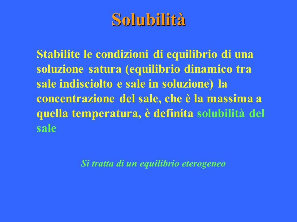 Solubilità Stabilite le condizioni di equilibrio di una soluzione satura (equilibrio dinamico tra sale indisciolto e sale in soluzione) la concentrazi