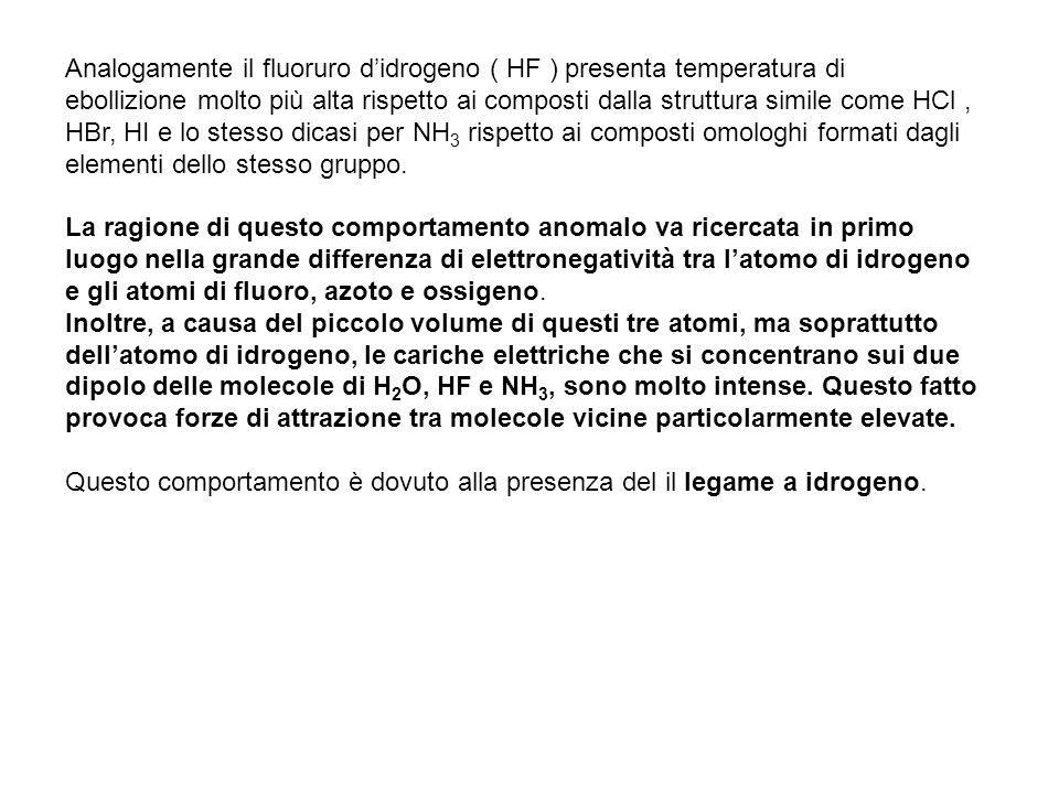 Analogamente il fluoruro didrogeno ( HF ) presenta temperatura di ebollizione molto più alta rispetto ai composti dalla struttura simile come HCl, HBr