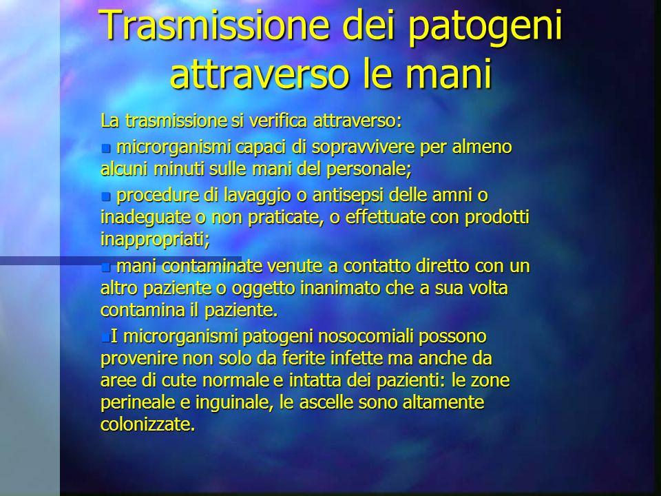 Trasmissione dei patogeni attraverso le mani La trasmissione si verifica attraverso: n microrganismi capaci di sopravvivere per almeno alcuni minuti s