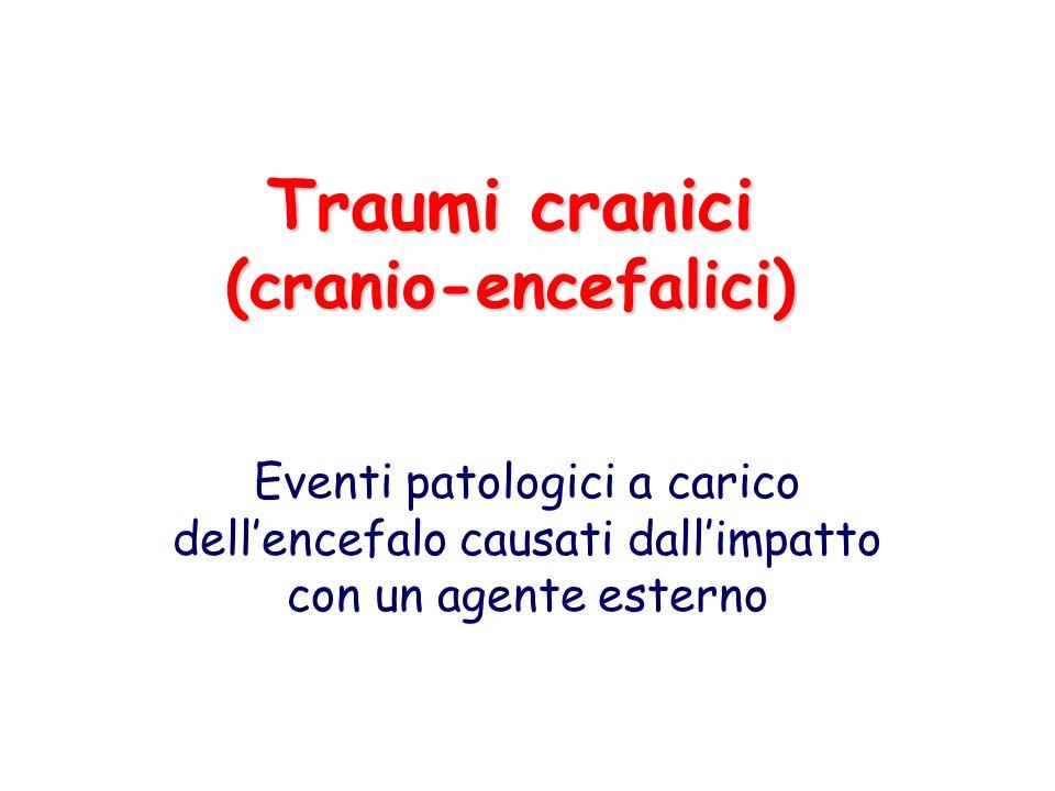 Lesioni emorragiche Ematoma subdurale cronico: –Più frequente > 60 anni e etilisti o terapia anticoagulante –Traumi cranici minori –Intervallo: settimane o mesi