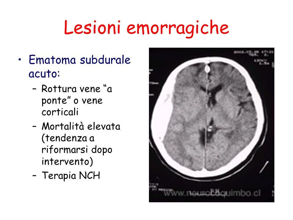 Lesioni emorragiche Ematoma subdurale acuto: –Rottura vene a ponte o vene corticali –Mortalità elevata (tendenza a riformarsi dopo intervento) –Terapi