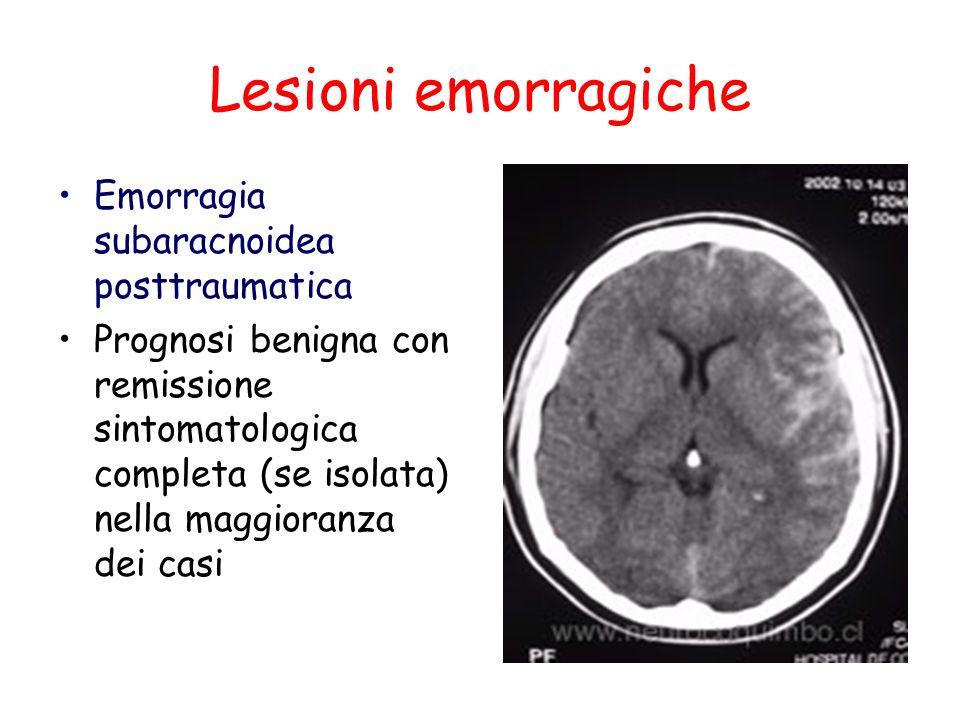Lesioni emorragiche Emorragia subaracnoidea posttraumatica Prognosi benigna con remissione sintomatologica completa (se isolata) nella maggioranza dei