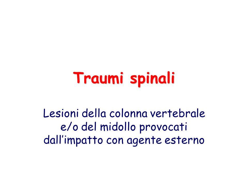Traumi spinali Lesioni della colonna vertebrale e/o del midollo provocati dallimpatto con agente esterno