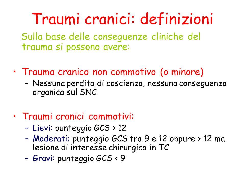 Traumi cranici: definizioni Sulla base delle conseguenze cliniche del trauma si possono avere: Trauma cranico non commotivo (o minore) –Nessuna perdit